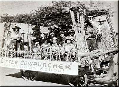 This is the entire Baboquivari School riding in the Rodeo Parade in Tucson, Arizona in February of 1936